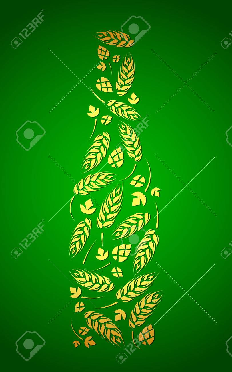 Hops For Decoration Decorative Vector Bottle Of Beer From Hops And Malt Royalty Free