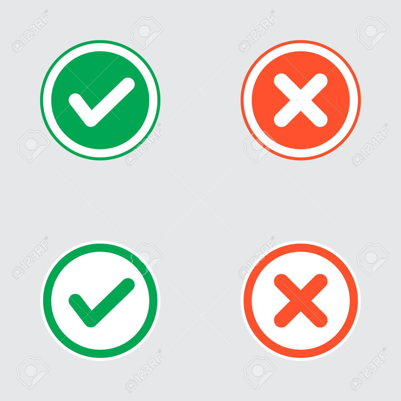 Vector Set of Flat Design Check Marks Icons. Different Variations of Ticks and Crosses Represents Confirmation, Right and Wrong Choices, Task Completion, Voting. - 40706985