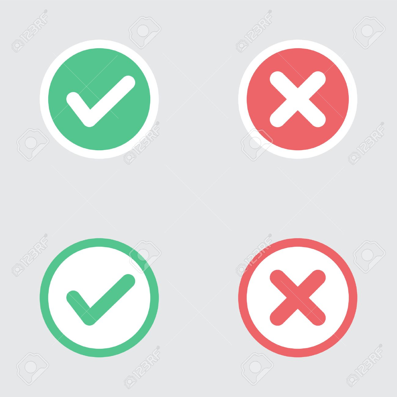 Vector Set of Flat Design Check Marks Icons. Different Variations of Ticks and Crosses Represents Confirmation, Right and Wrong Choices, Task Completion, Voting. - 40707235