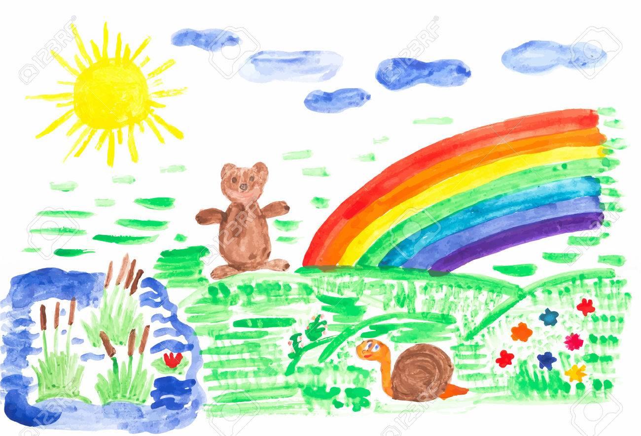 Niño Dibujo Coloreado Con Acuarela Sobre Papel, El Sol, Las Flores ...