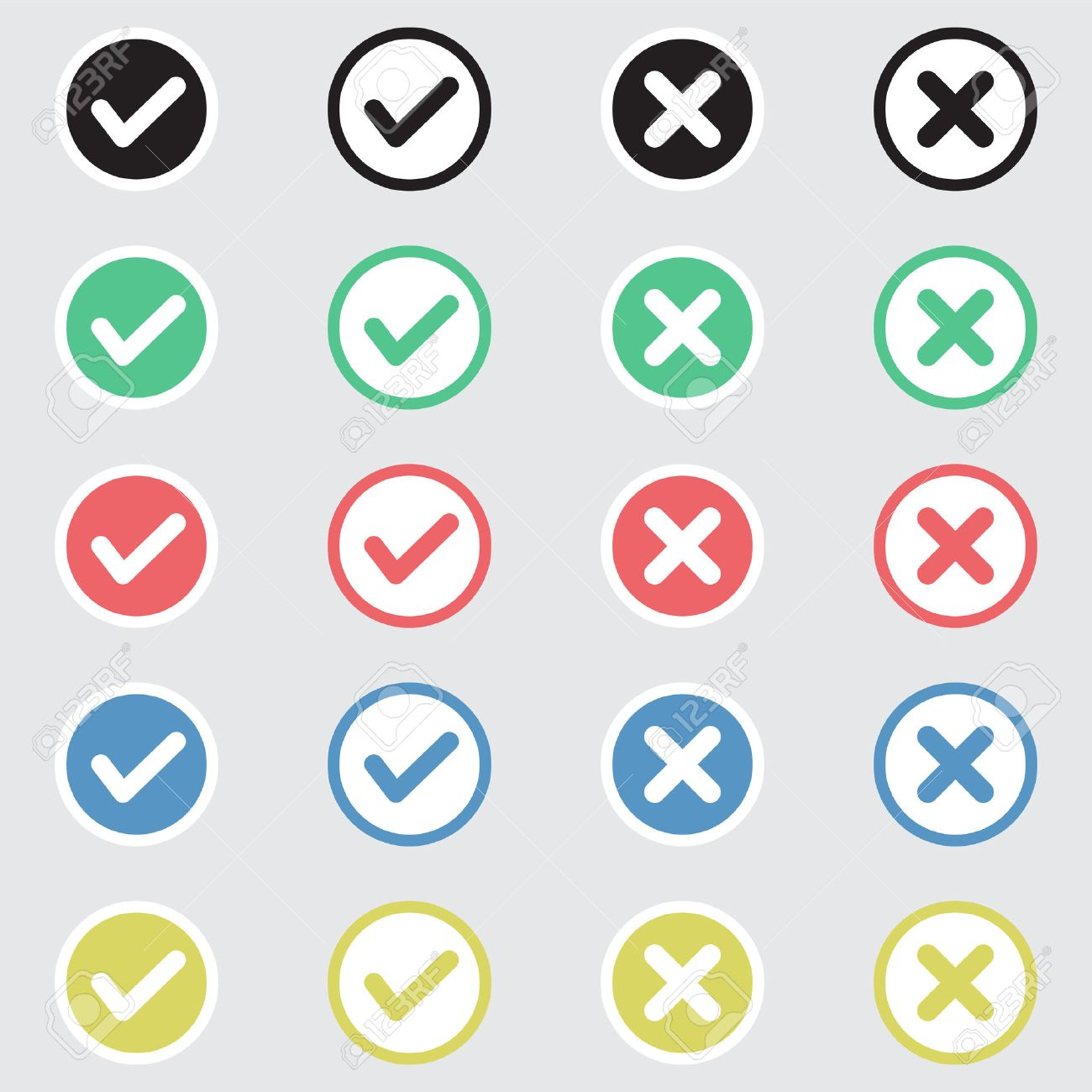 Vector Set of Flat Design Check Marks Icons. Different Variations of Ticks and Crosses Represents Confirmation, Right and Wrong Choices, Task Completion, Voting. - 40707026