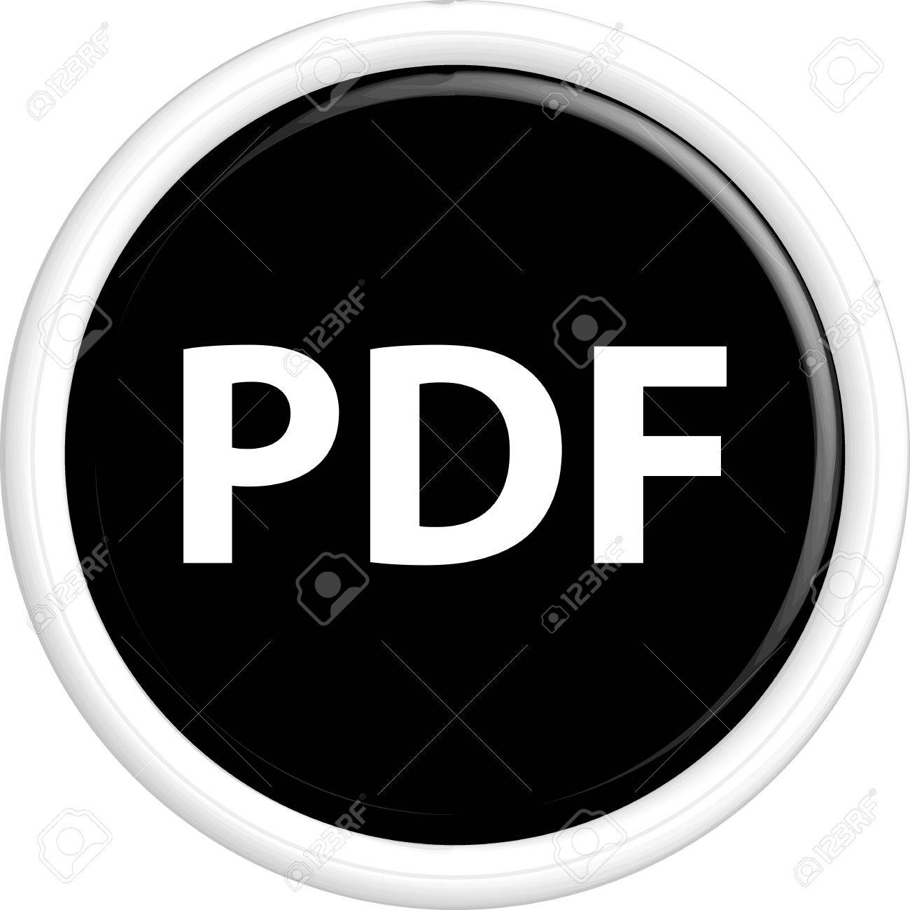 Button PDF  The round shape  3D  Vector illustration