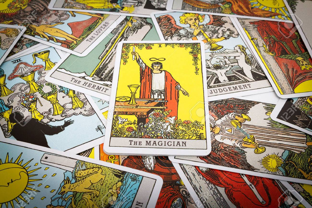 Tarot cards Tarot, the magician card in the foreground
