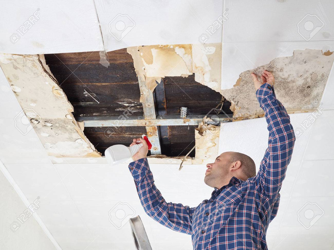 man cleaning mold on ceiling.Ceiling panels damaged huge hole in roof from rainwater leakage.Water damaged ceiling . - 54733100