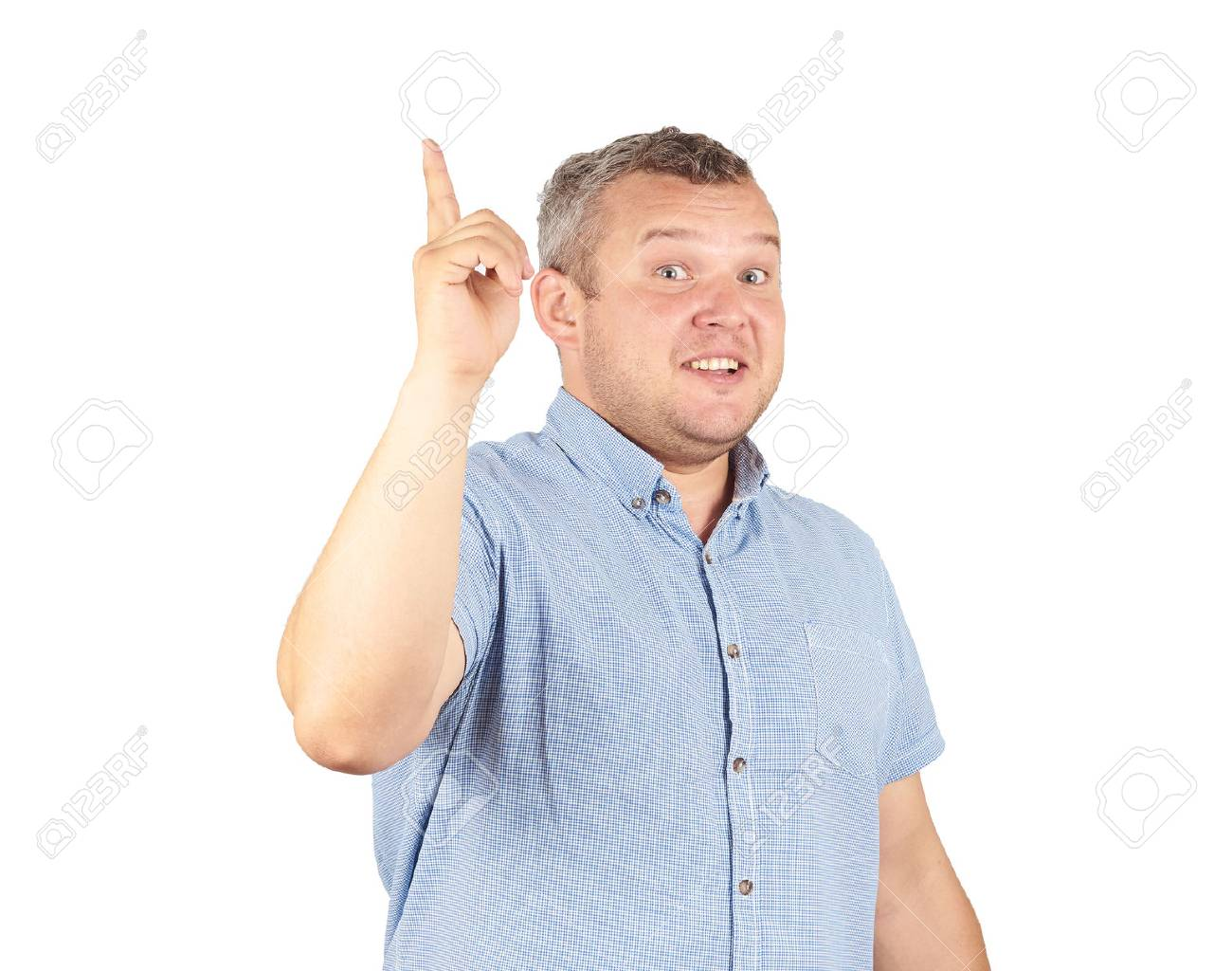 Portrait of a man came up with the idea and holding thumbs up. Solution. facial expression, body language, creativity Isolated on white background. - 63759883