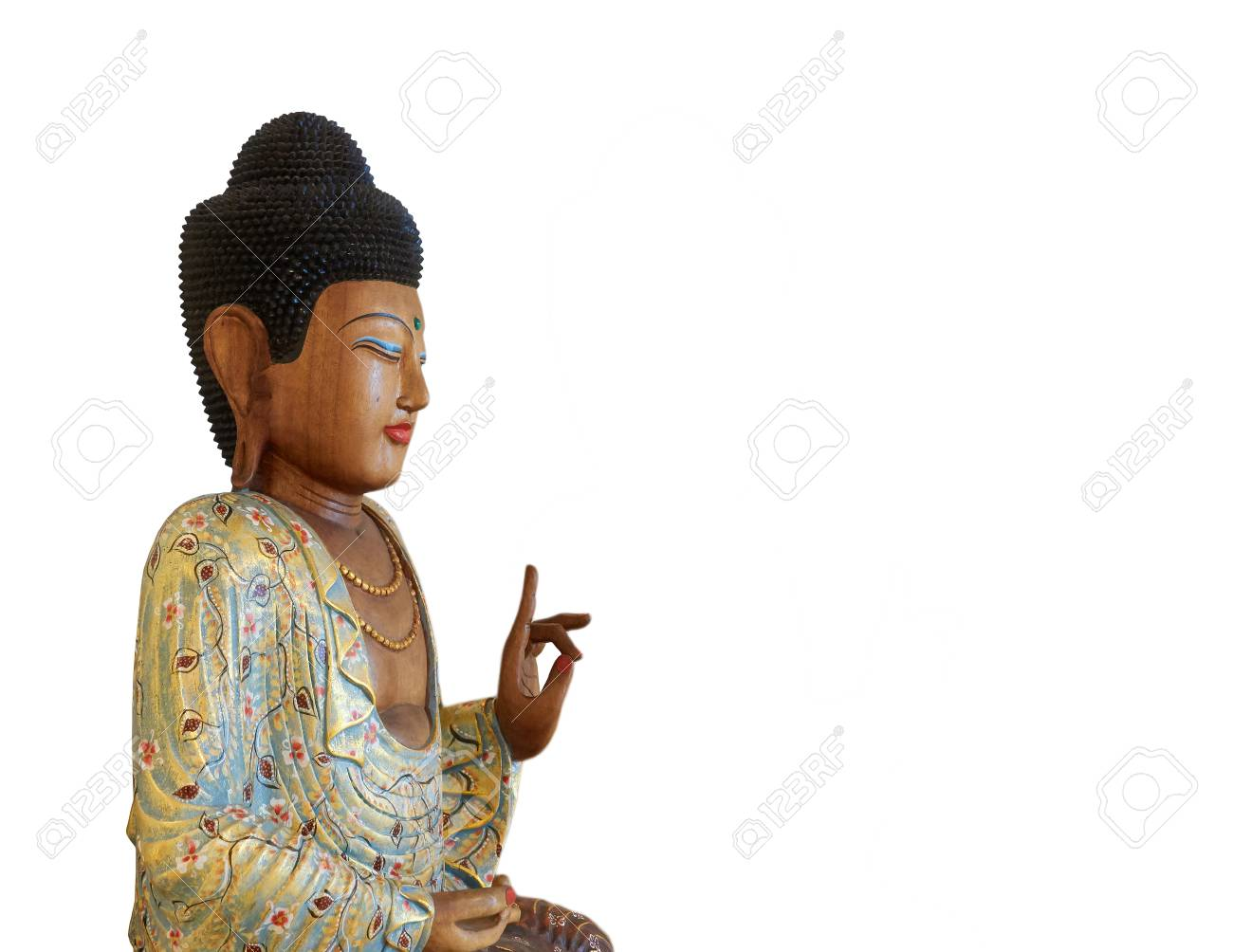 Wooden Buddha Statue Sitting On A Lotus Flower Isolated On White