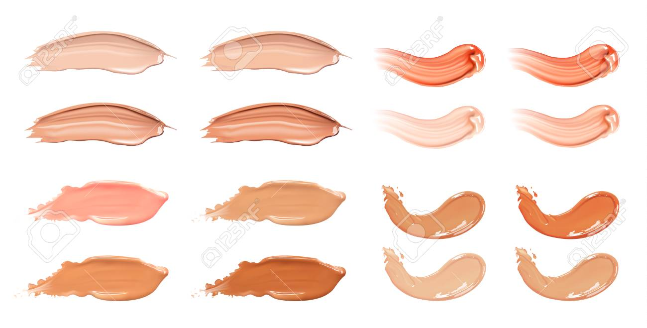 Set of cosmetic liquid foundation or caramel cream in different colour smudge smear strokes. - 75847465