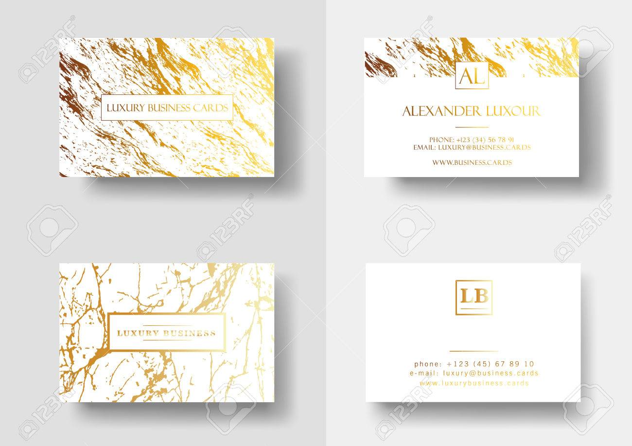 Elegant Business Cards With Marble Texture And Gold Detail Vector