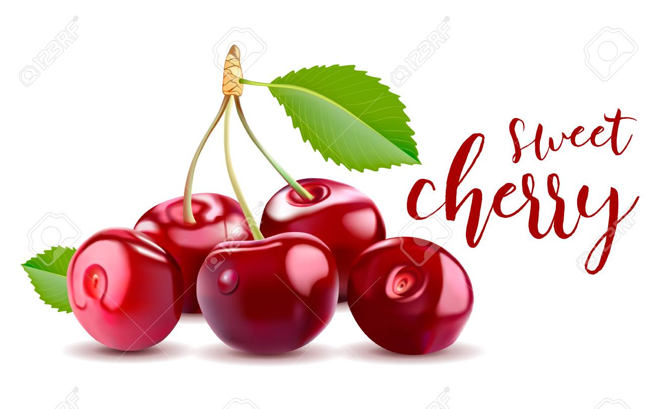 Sweet Vector 3D Realistic Cherry, isolated on white background - 84173025
