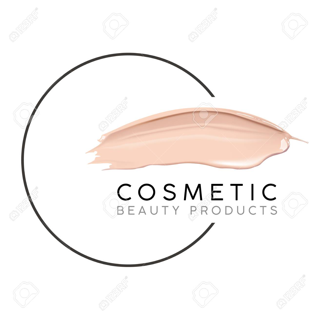 Makeup design template with place for text. Cosmetic Logo concept of liquid foundation and lipstick smear strokes. - 86732248