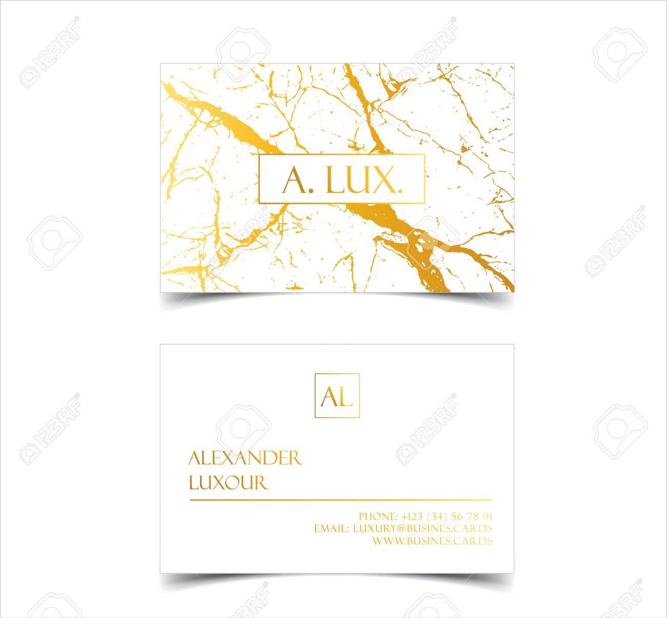 Cartes De Visite Elegantes Luxe Blanc Avec Texture Marbre Et