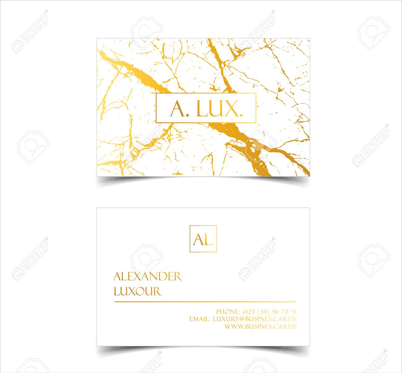 Elegant White Luxury Business Cards With Marble Texture And Gold ...