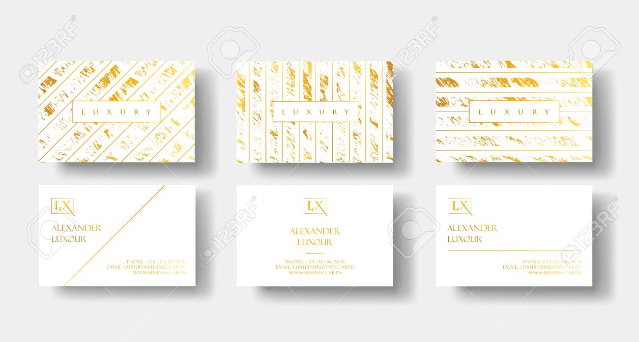 Elegant White And Gold Luxury Business Cards Set With Marble Texture Detail Vector Template