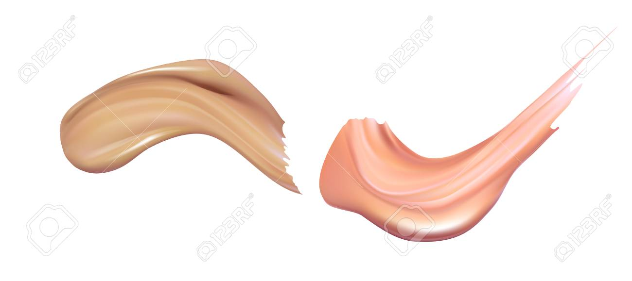 Cosmetic liquid foundation cream smudge smear strokes. Make up smear isolated on white background - 92033928