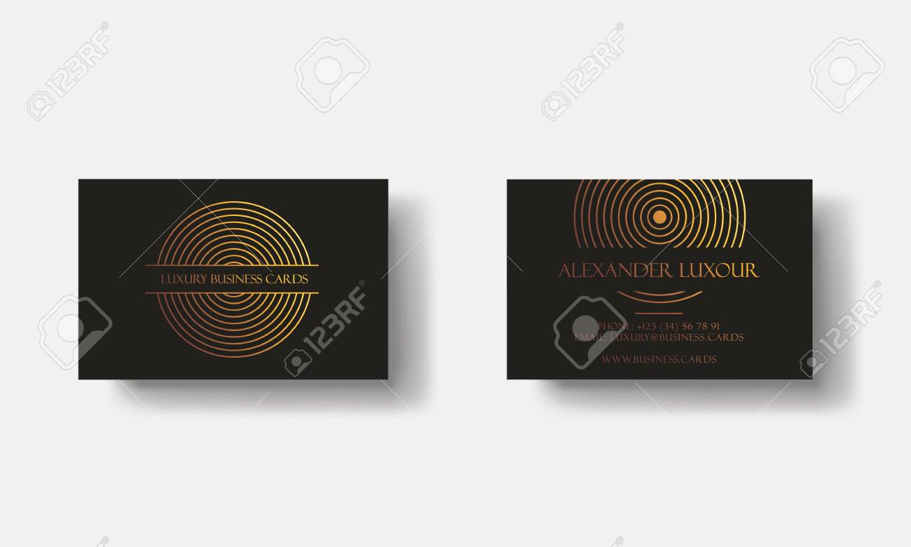 Black Gold Luxury Business Cards For VIP Event. Elegant Greeting ...