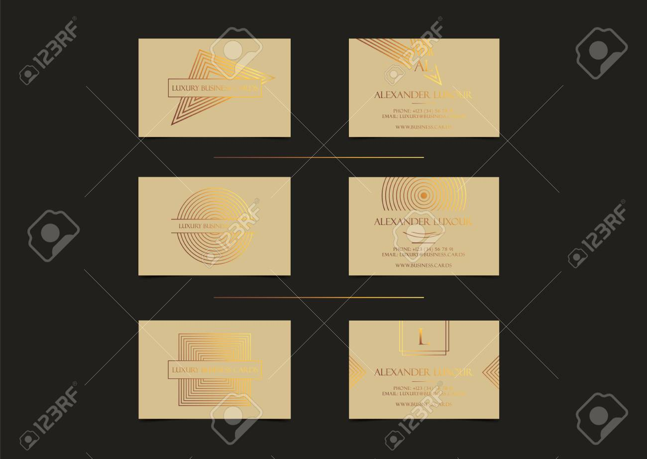 Beige Gold Luxury Business Cards Set For Vip Event Elegant Greeting