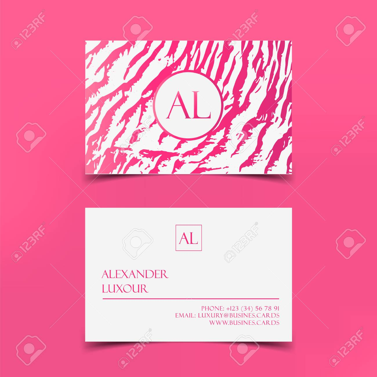 Pink Fashion Business Card Vector Template Banner And Cover