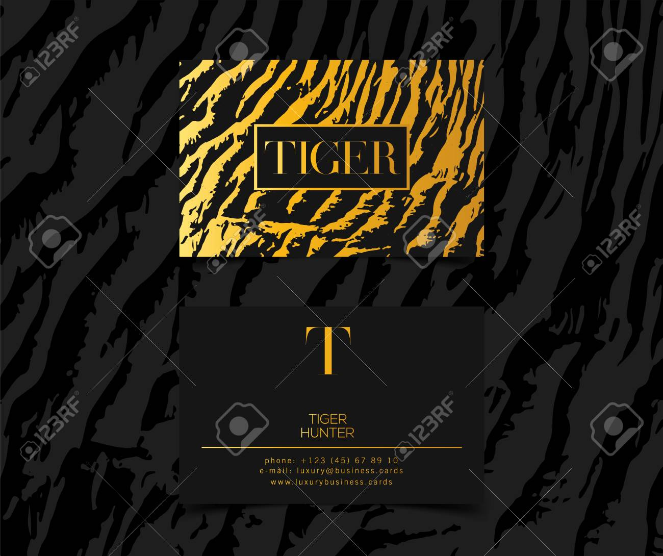 Luxury fashion business cards vector template banner and cover with banco de imagens luxury fashion business cards vector template banner and cover with golden tiger texture pattern gold details on white reheart Choice Image