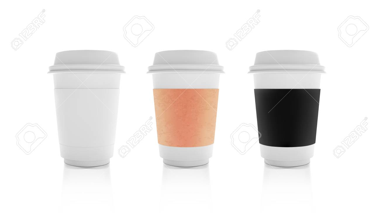 Realistic White Paper, Craft and Black Coffee Cup mock up set. Cafe Latte, Cappuccino Cup. Lable Coffee Mock Up set Isolated on wihite background - 112300382