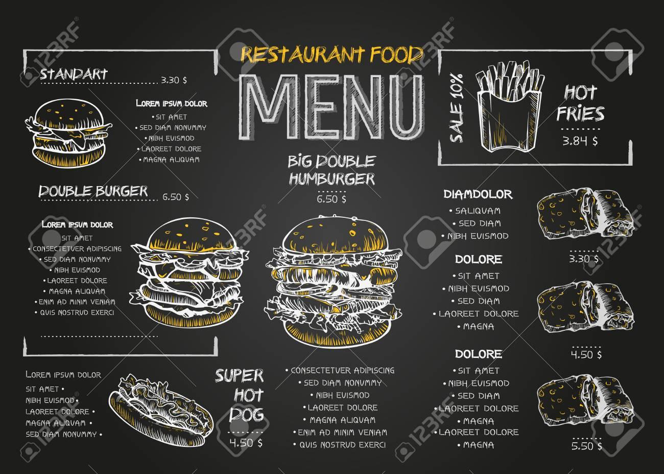 Restaurant Food Menu Design template with Chalkboard Background. Vintage chalk drawing fast food menu in vector sketch style. - 120842829