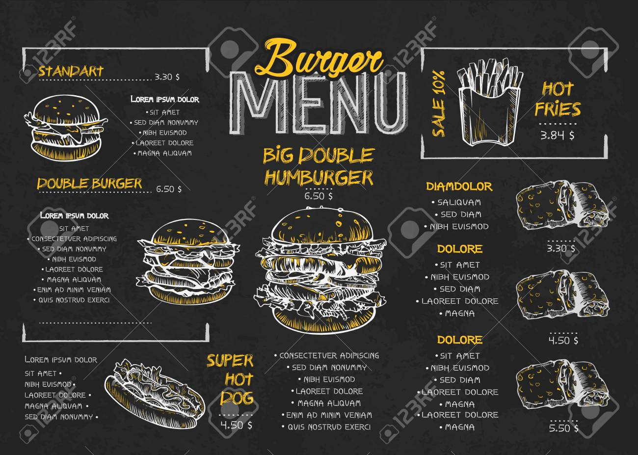 Burger menu poster design on the chalkboard elements. Fast food menu skech style. Can be used for layout, banner, web design, brochure template. Vector illustration. - 120842849
