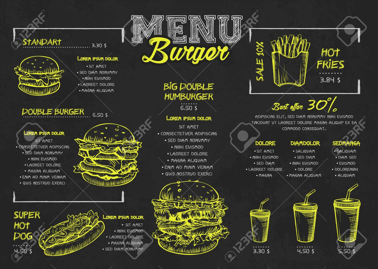 Burger menu poster design on the chalkboard elements. Fast food menu skech style. Can be used for layout, banner, web design, brochure template. Vector illustration. - 120842941