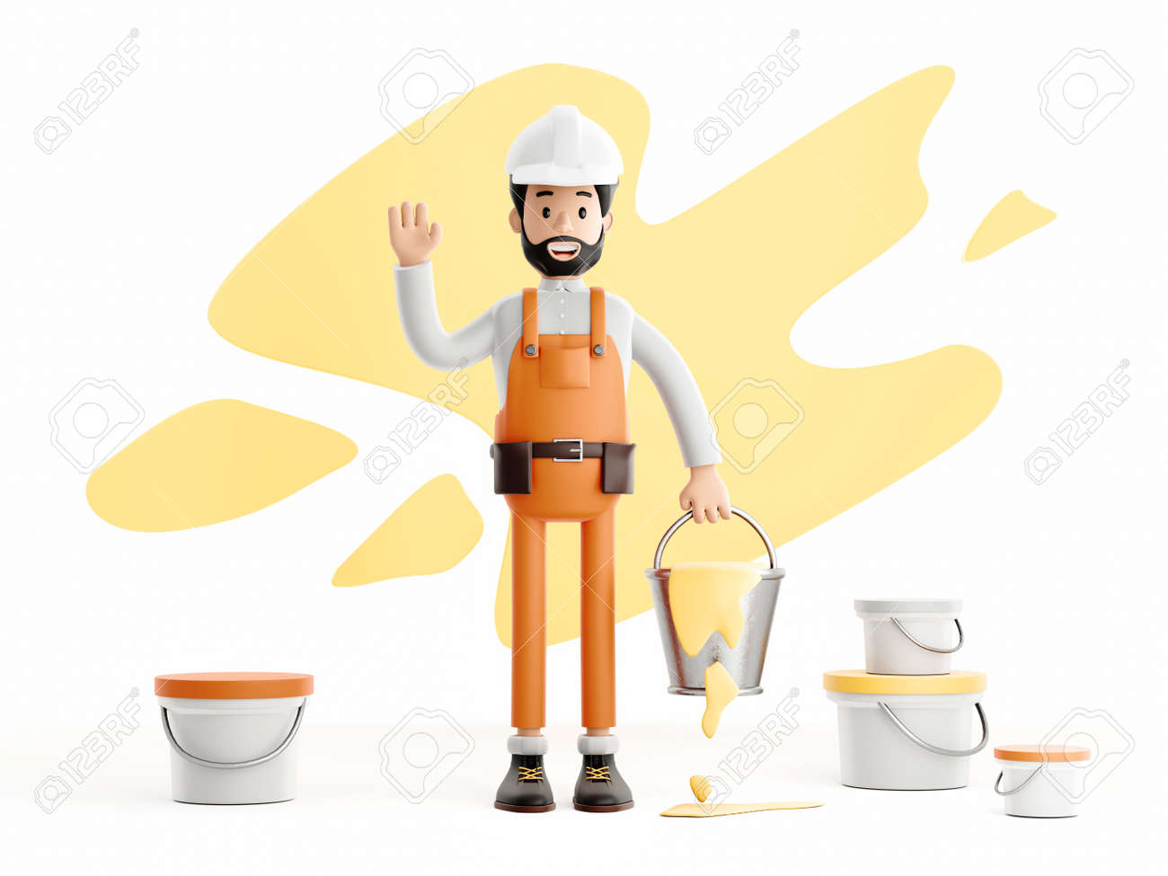 builder painter plasterer cartoon character, funny worker or engineer with buckets of paint - 172803607
