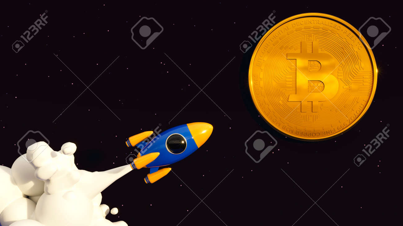 Bitcoin To The Moon. Crypto Rocket - 169930636