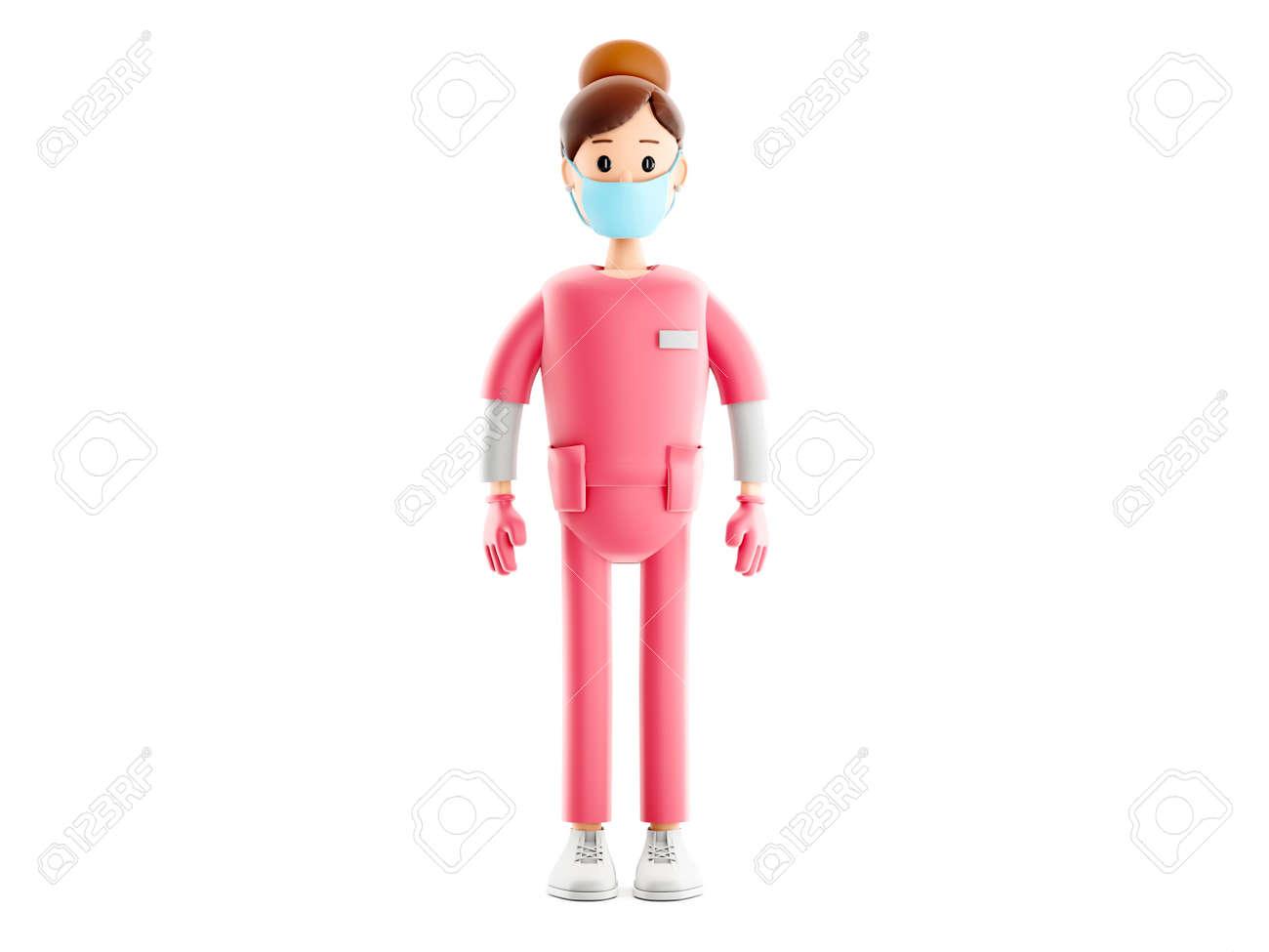 Nurse cartoon guy character. Smiling doctor medical 3d illustration. - 171588092