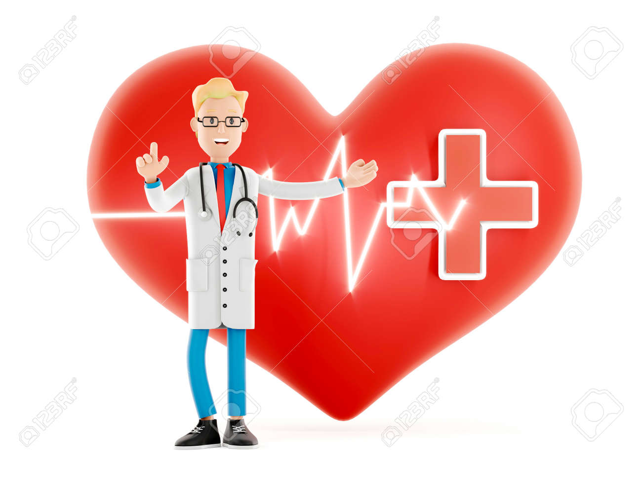 Cartoon doctor near a big red heart. Medical cardiology concept of health protection against heart attack and for a healthy heart. Health care3d illustration - 171588102