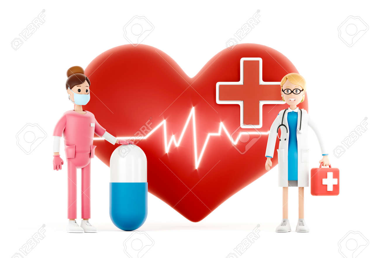 Cartoon doctors guarding a big red heart. Medical cardiology concept of health protection against heart attack and for a healthy heart. 3d illustration - 171588103