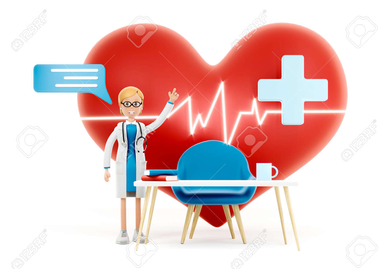 Cartoon doctor near a big red heart. Medical cardiology concept of health protection against heart attack and for a healthy heart. 3d illustration - 171588105