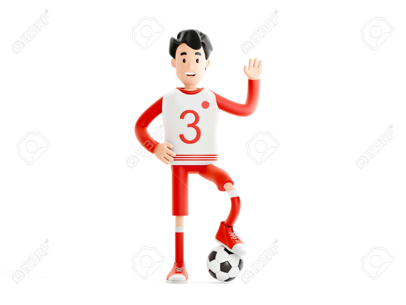 Cartoon character football or soccer player with a ball isolated on white background - 171588126
