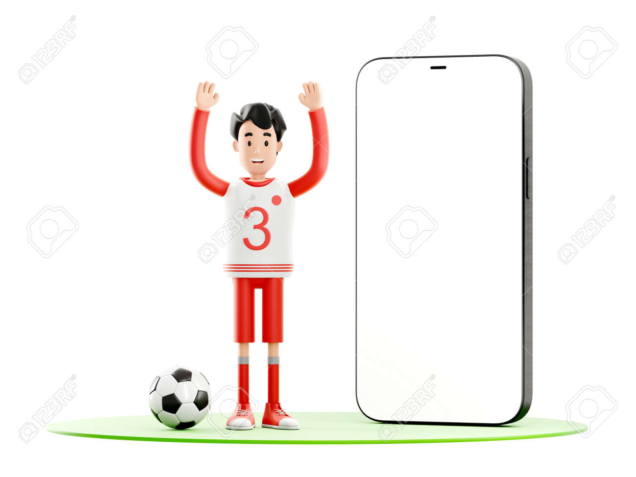 Cartoon character football or soccer player with a mobile phone - 171588130