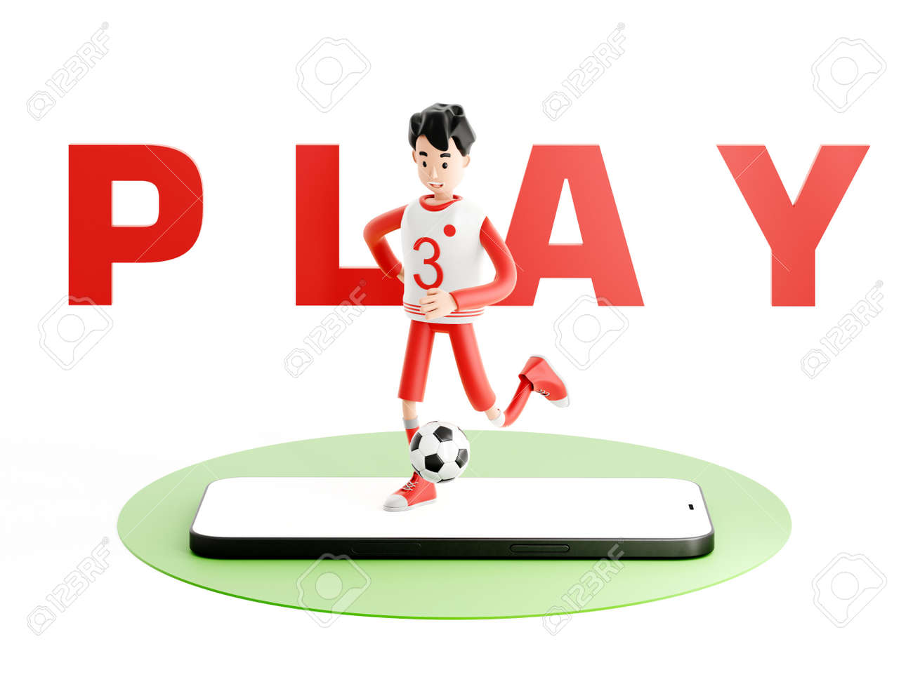 Cartoon character football or soccer player with a mobile phone - 171588131