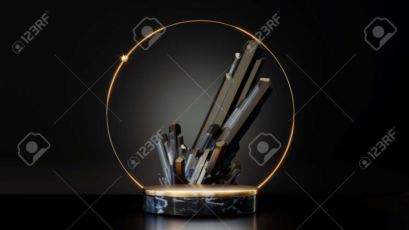 3D rendering gold podium geometry with crystals. Abstract black geometric shape blank platform. Empty showcase pedestal product display for cosmetic presentation. Minimal composition with round scene. - 172803639