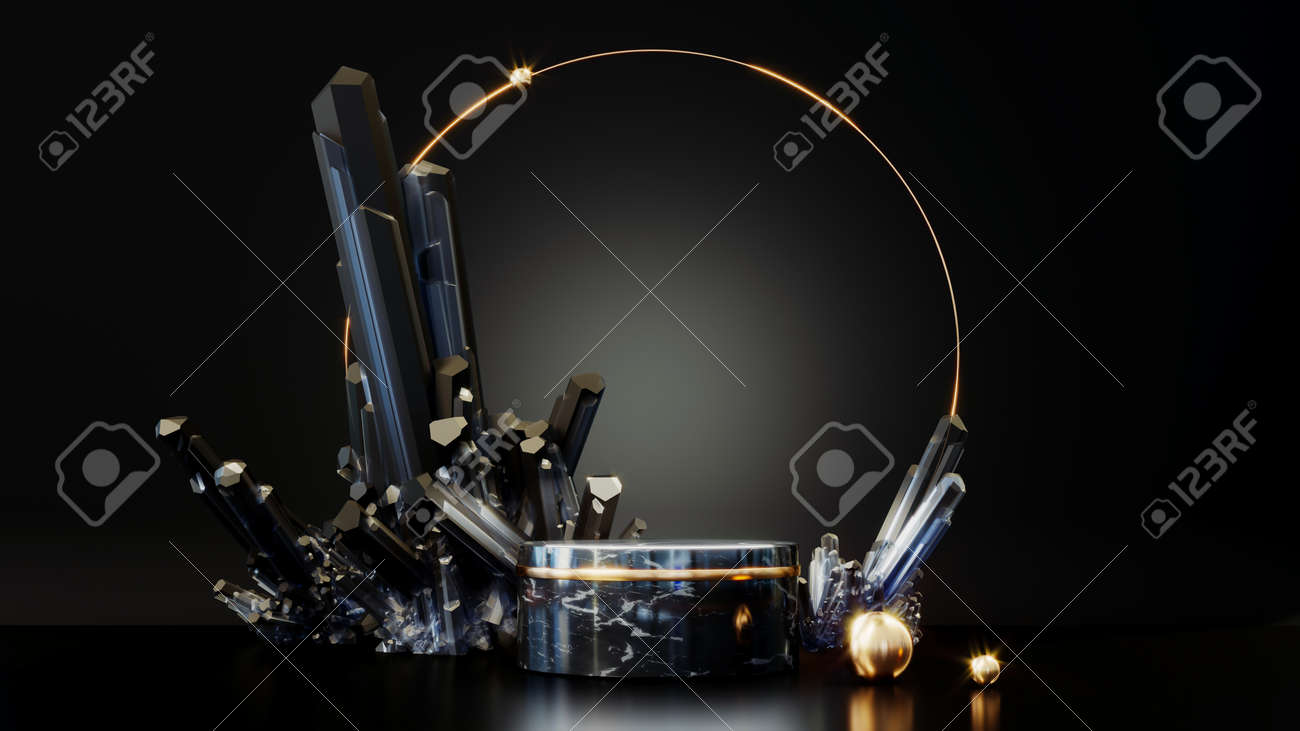3D rendering gold podium geometry with crystals. Abstract black geometric shape blank platform. Empty showcase pedestal product display for cosmetic presentation. Minimal composition with round scene. - 172803640