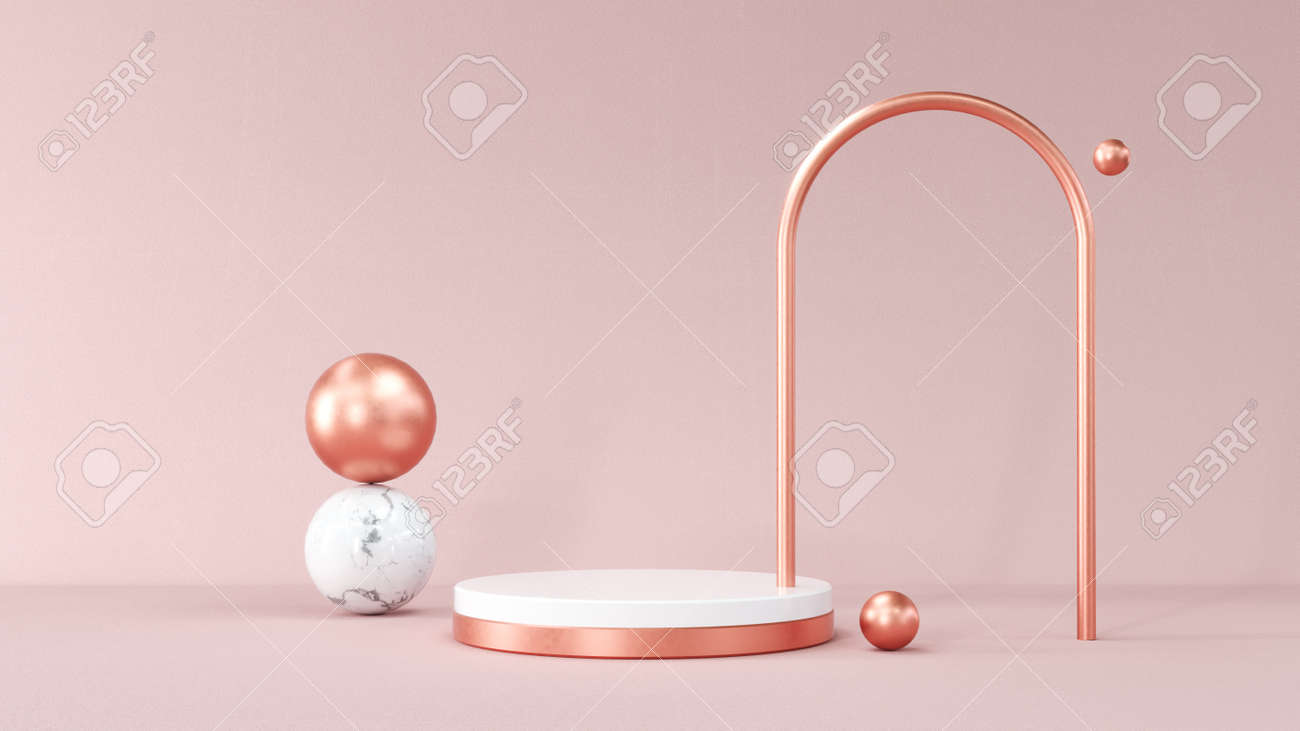 3D rendering gold podium geometry with crystals. Abstract Pastel pink geometric shape blank platform. Empty showcase pedestal product display for cosmetic presentation. Composition with round scene. - 172803643
