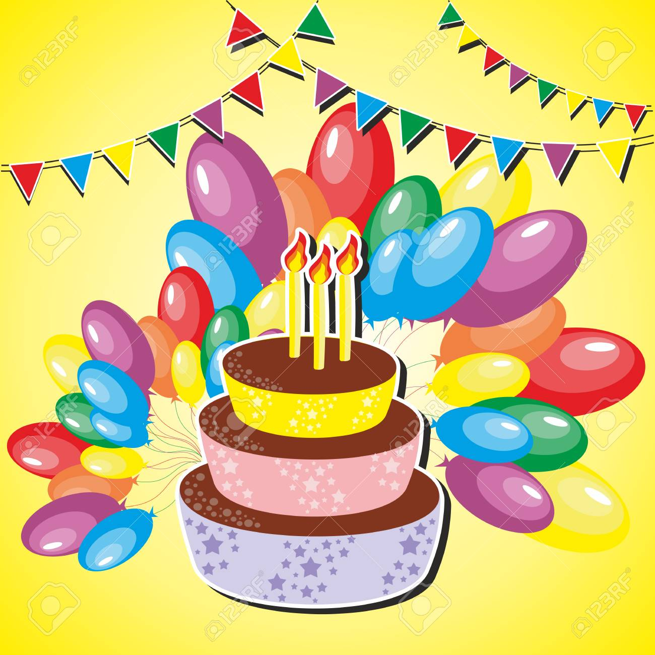 Vector Illustration Of Birthday Cake With Balloons Flags