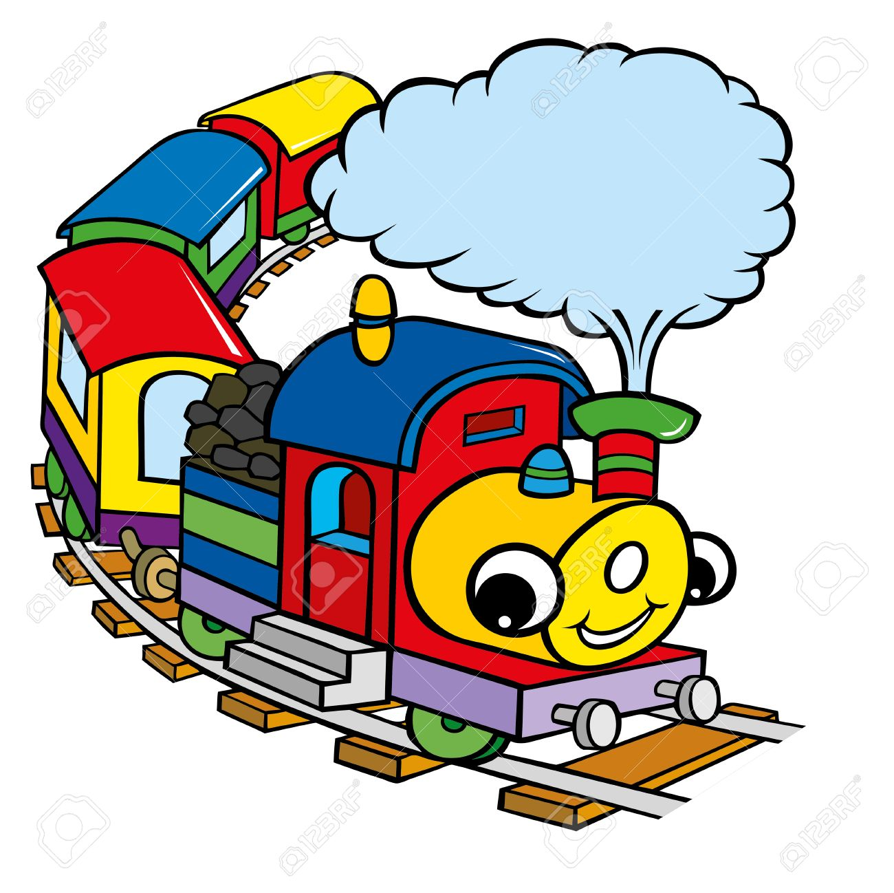 funny happy train cartoon for kids royalty free cliparts vectors