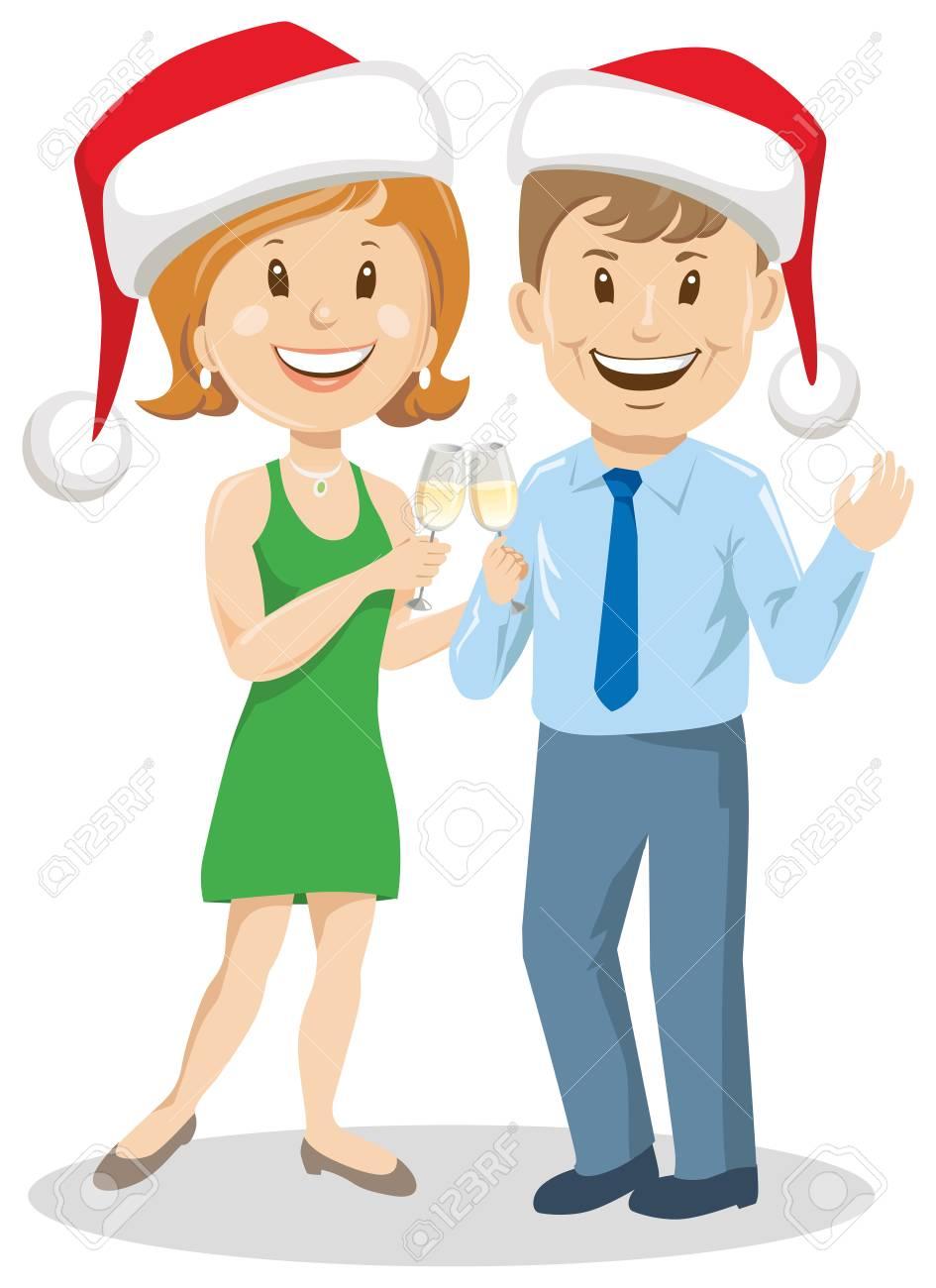 クリスマスの帽子、ワインのイラストとカップルの男女。 ロイヤリティ