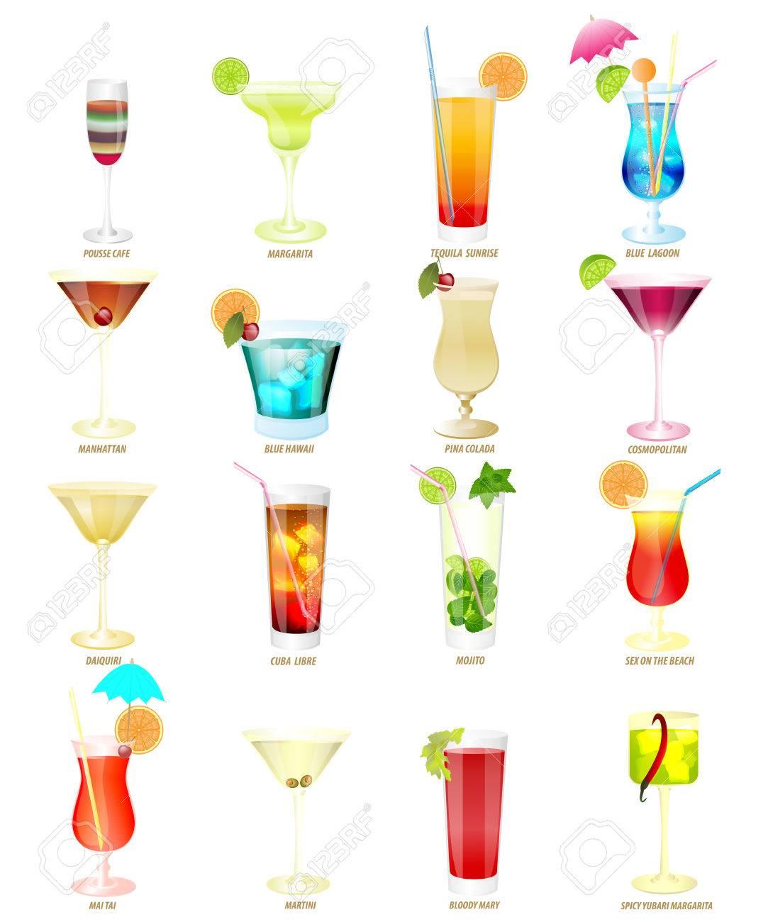 Inspiring Beliebte Cocktails Collection Of Sechzehn Beliebtesten Auf Weißem Hintergrund. Standard-bild -