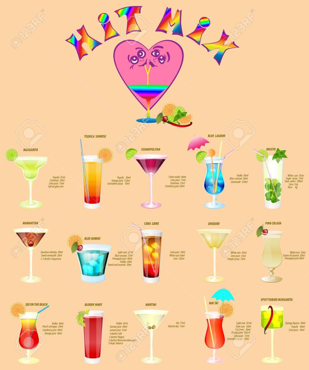Cocktail Karte.Cocktail Menu Consisting Of Fifteen Popular Drinks