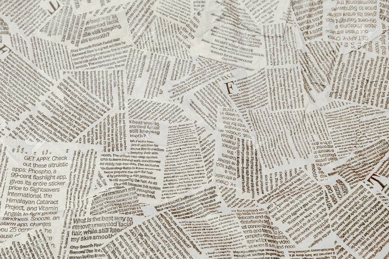 Black and white repeating torn newspaper background. Continuous pattern left, right, up and down. - 118899524