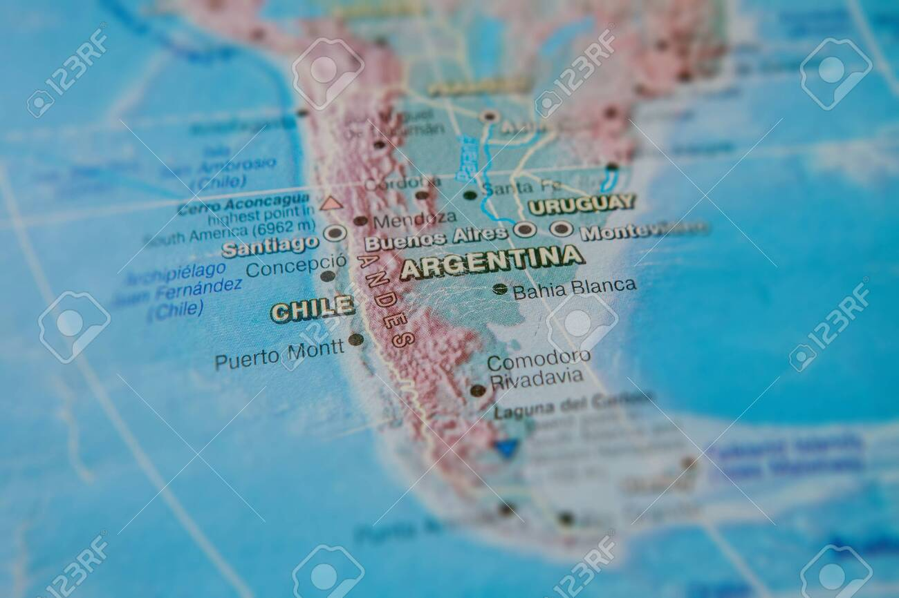 Argentina And Chile In Close Up On The Map Focus On The Name Stock Photo Picture And Royalty Free Image Image 127224797