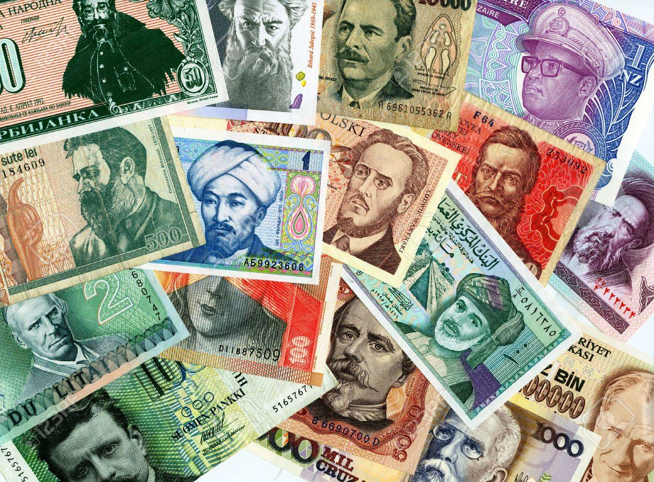 Currencies from around the world, paper banknotes