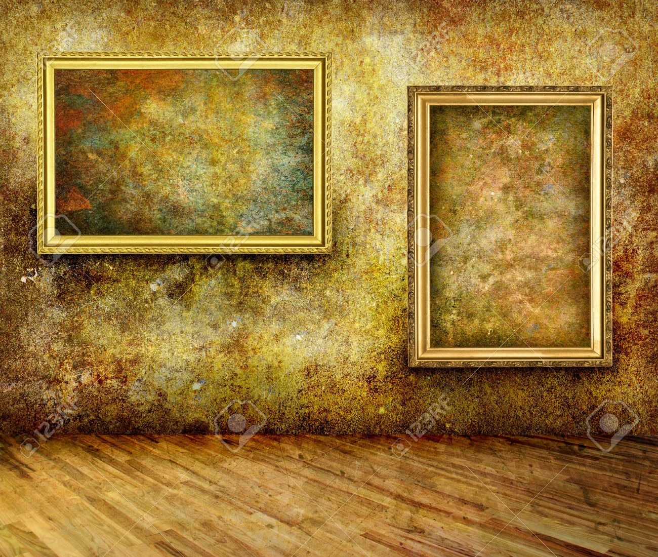 A dark, grungy room with gold frames on the wall Stock Photo - 18188705