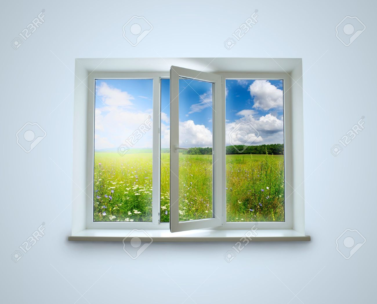 New closed plastic glass window frame isolated on the white background Stock Photo - 18188266