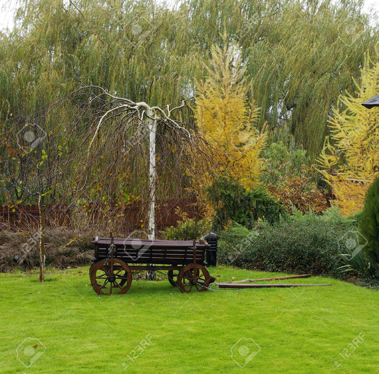 Landscaping In The Garden. Peaceful Garden With A Freshly Mown ...