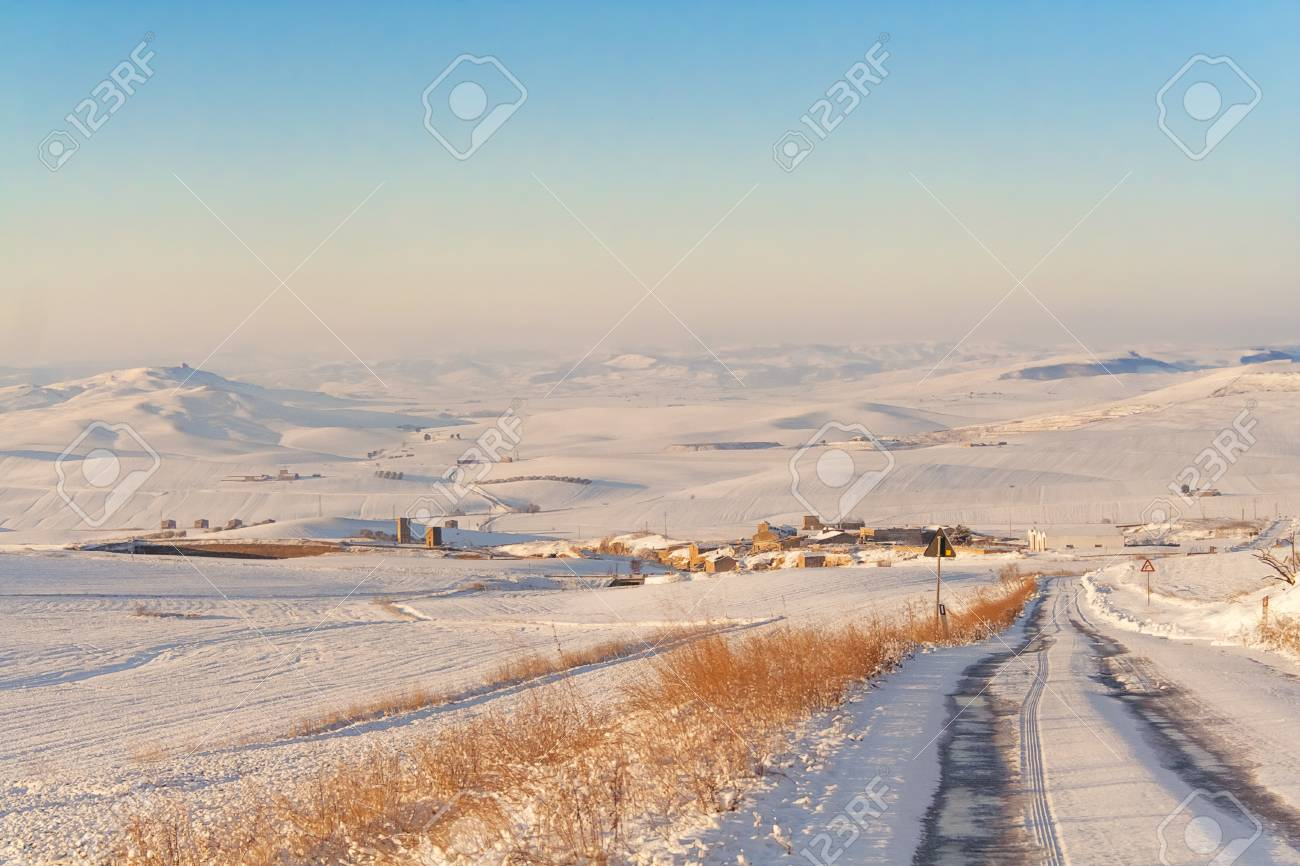 RURAL LANDSCAPE WINTER Between Apulia and Basilicata  snowy hills